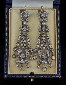 MUSEUM QUALITY GEORGIAN 8.20 CT OLD DIAMOND RARE CHANDELIER DROP EARS 1800!
