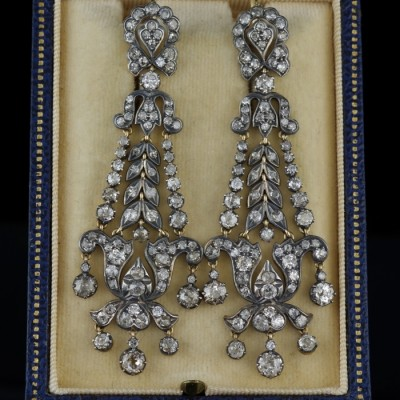 MUSEUM QUALITY GEORGIAN 8.20 CT OLD DIAMOND RARE CHANDELIER DROP EARS 1800!