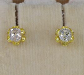 VICTORIAN 1.80 CT OLD MINE CUSHION DIAMOND SOLITAIRE STUD EARRINGS 1880 CA!