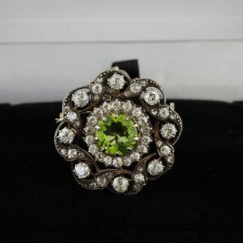GLORIOUS VICTORIAN NATURAL PERIDOT & 3.10 CT DIAMOND RARE BROOCH PENDANT 1880 CA