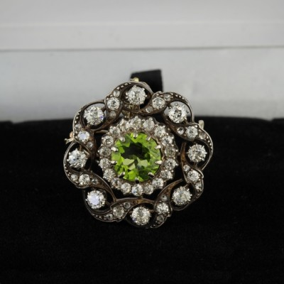 GLORIOUS VICTORIAN NATURAL PERIDOT & 3.10 CT DIAMOND RARE BROOCH PENDANT 1880 CA!
