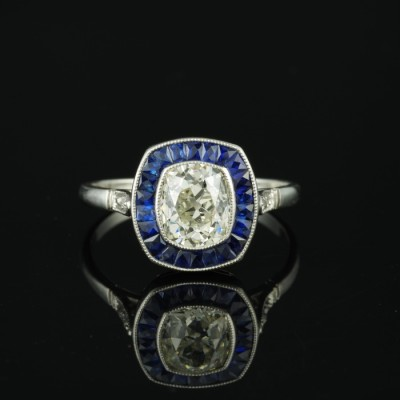 MAGNIFICENT REAL ART DECO 2.10 CT CUSHION DIAMOND REAL SAPPHIRE PLATINUM TARGET RING!