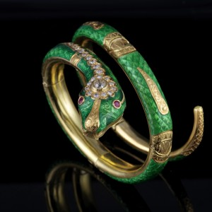 A MAGNIFICENT 1840 CA GREEN ENAMEL DIAMOND RUBY RARE SNAKE BANGLE!