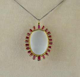 ANTIQUE 33.00 CT MOONSTONE 5.50 CT RUBIES RARE PENDANT NECKLACE 1935 CA!