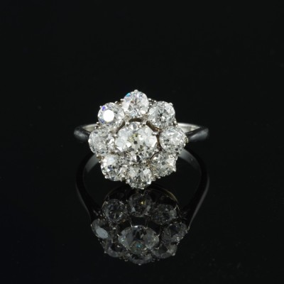 OUTSTANDING EDWARDIAN 3.0 CT OLD CUT DIAMOND G VVS VS PLATINUM CLUSTER RING!