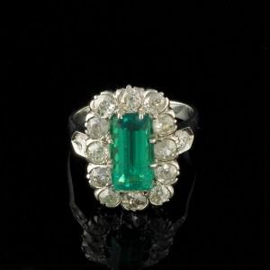 RAREST ART DECO COLOMBIAN EMERALD & DIAMOND SOLID PLATINUM AUTHENTIC 1925 RING!