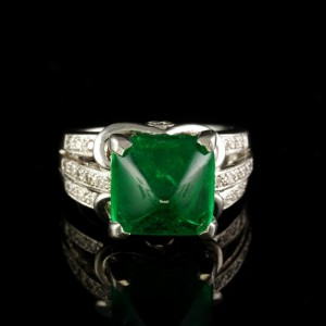 ICONIC ART DECO 5.95 CT COLOMBIAN EMERALD & DIAMOND RARE PLATINUM RING!