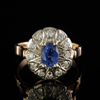 ART DECO RUSSIAN 1.20 CT CEYLON SAPPHIRE NO HEAT .80 CT DIAMOND PLAT ROSE GOLD!