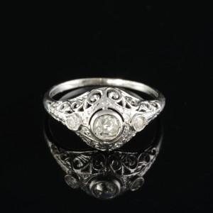 AUTHENTIC ART DECO .60 CT DIAMOND TRILOGY RING OF DREAMS!