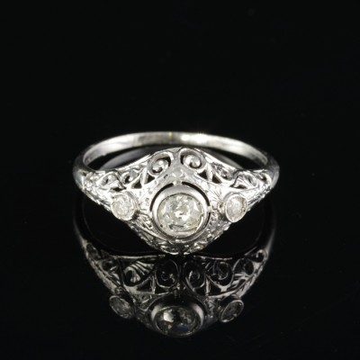 AUTHENTIC ART DECO .60 CT DIAMOND TRILOGY RING OF DREAMS!