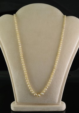 EDWARDIAN NATURAL BASRA PEARL SAPPHIRE DIAMOND SINGLE STRING NECKLACE 1900 CA!