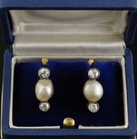 AUTHENTIC VICTORIAN LARGE NATURAL BASRA PEARL & DIAMOND SOLITAIRE EARRINGS 1880 CA!