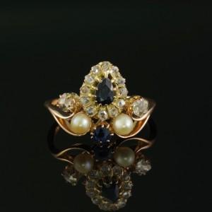 ROMANTIC VICTORIAN SAPPHIRE DIAMOND NATURAL PEARL RARE TIARA RING 1880 CA!