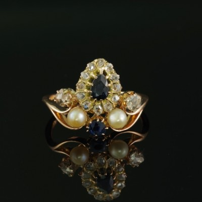 ROMANTIC VICTORIAN SAPPHIRE DIAMOND NATURAL PEARL RARE TIARA RING 1880 CA!