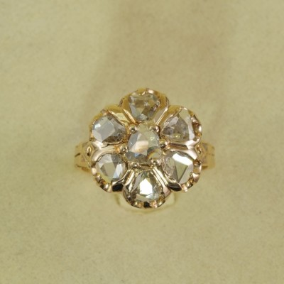 AUTHENTIC VICTORIAN 2.0 CT ROSE CUT DIAMOND RARE 1890 CA RING ROSE GOLD!