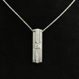 SPECATCULAR ART DECO DIAMOND SOLID PLATINUM PENDANT NECKLACE 1925 CA