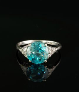 AUTHENTIC ART DECO 5.80 CT NATURAL ZIRCON & DIAMOND PLATINUM RING!