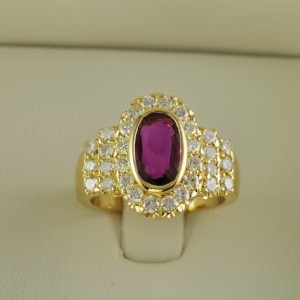 STRIKING NATURAL NO HEAT RUBY & DIAMOND HIGH END VINTAGE RING !
