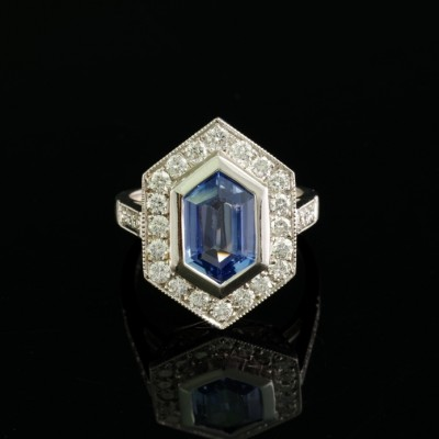 3.0 CT NATURAL NO HEAT CEYLON SAPPHIRE 1.50 CT DIAMOND DISTINCTIVE RING!