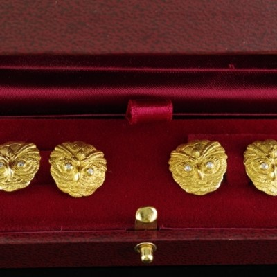 AUTHENTIC VICTORIAN  18 KT OLD CUT DIAMOND RARE PAIR OF OWL CUFFLINKS!