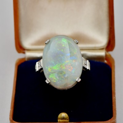 SPECTACULAR RETRO 12.30 CT SOLID OPAL & DIAMOND HUGE SOLITAIRE RING!