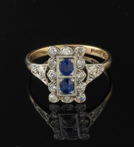 EDWARDIAN NATURAL SAPPHIRE & DIAMOND CHARMING 1900 RING!