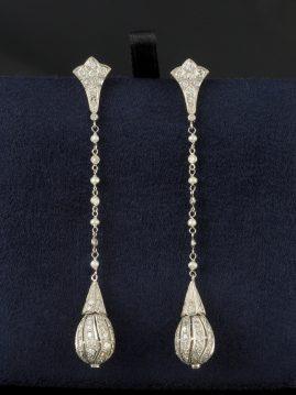 SUPERB AUTHENTIC BELLE EPOQUE 3.90 CT DIAMOND PEARL DROP EARRINGS