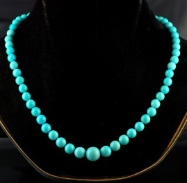 RARE UNTREATED NATURAL PERSIAN TURQUOISE VINTAGE NECKLACE FROM 7 MM TO 12 MM!