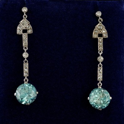 ORIGINAL ART DECO 9.00 CT NATURAL BLUE ZIRCON & DIAMOND PLATINUM DROP EARRINGS!
