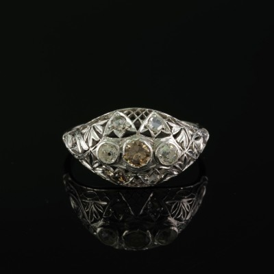 DELIGHTFUL EDWARDIAN DIAMOND TRRILOGY FILIGREE WORK 1900 CA!