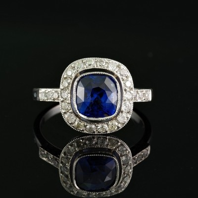 2.80 CT. NATURAL NO HEAT ROYAL BLUE SAPPHIRE .75 CT DIAMOND PLATINUM ANTIQUE RING!