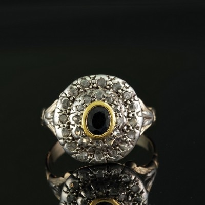 LATE GEORGIAN 1820 CA RARE SAPPHIRE ROSE CUT DIAMOND UNISEX RING!