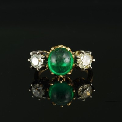 VICTORIAN SENSATIONAL COLOMBIAN EMERALD & DIAMOND TRILOGY RING 1900 CA!