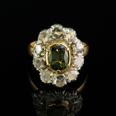VICTORIAN AUSTRO HUNGARIAN 1.80 CT NATURAL GREEN SAPPHIRE 2.0 CT DIAMOND RING 1890 CA!