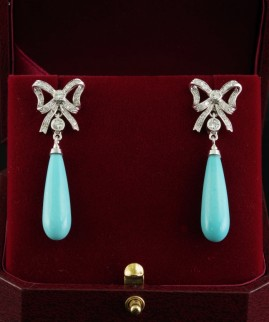 DREAMING NATURAL TURQUOISE & DIAMOND BOW VINTAGE DROP EARRINGS!