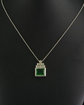 GENUINE ART DECO NATURAL PRASOLITE DIAMOND PLATINUM PENDANT NECKLACE