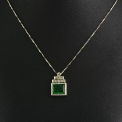 GENUINE ART DECO NATURAL PRASOLITE DIAMOND PLATINUM PENDANT NECKLACE!