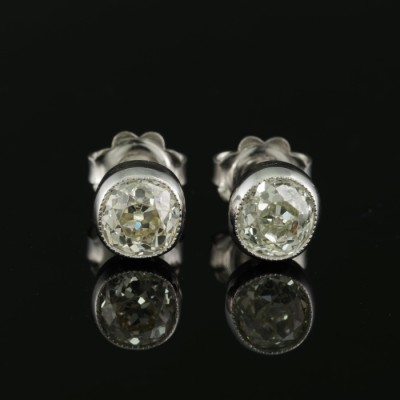 ART DECO 1.80 CT WEIGHTED OLD CUT DIAMOND STUD EARRINGS 1935 CA!