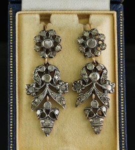 GEORGIAN 2.80 CT ROSE CUT DIAMOND SPANISH 1820 CA DROP EARRINGS!
