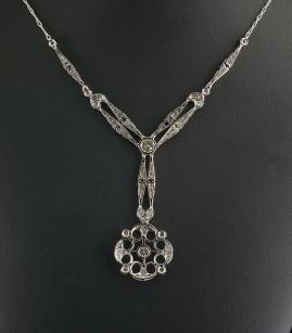 GENUINE EDWARDIAN 2.15 CT DIAMOND ALL PLATINUM RARE NECKLACE!