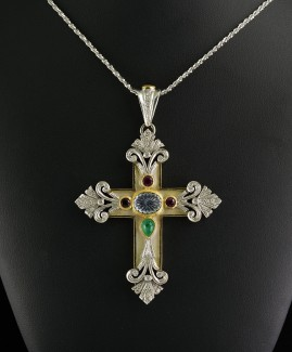 MAGNIFICENT SIGNED LARGE MULTIGEM DIAMOND ENAMELS CROSS AN UNIQUE