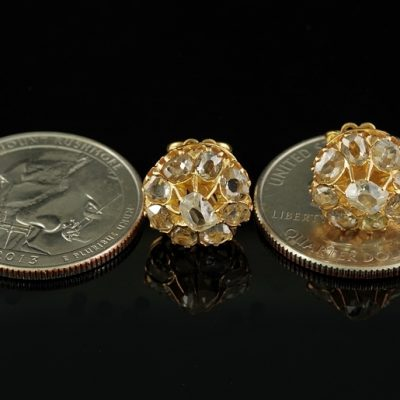 EXCELLENT 2.20 CT TABLE CUT DIAMOND GENUINE VICTORIAN STUD EARRINGS!
