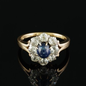 AUTHENTIC VICTORIAN .95 CT NATURAL SAPPHIRE 2.00 CT OLD MINE DIAMOND RARE RING