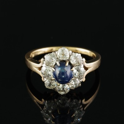 AUTHENTIC VICTORIAN .95 CT NATURAL SAPPHIRE 2.00 CT OLD MINE DIAMOND RARE RING