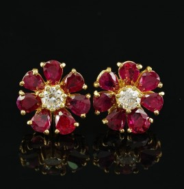 RARE 4.60 CT NATURAL NO HEAT NATURAL RUBIES .75 CT DIAMOND VINTAGE STUD EARRINGS