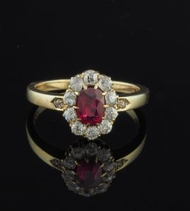 VICTORIAN AUSTRO HUNGARIAN RUBY & DIAMOND RARE CLUSTER RING!