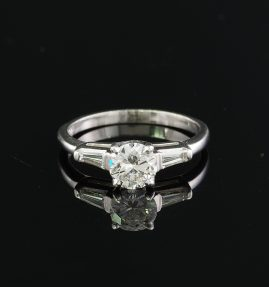 STUNNING ART DECO PLATINUM G VS 1.05 CT DIAMOND ENGAGEMENT RING!