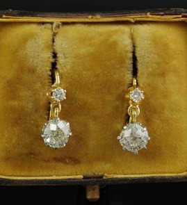 RARE VICTORIAN 2.40 CT OLD CUSHION CUT DIAMOND DROP EARRINGS 1900 CA!