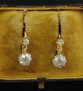 RARE VICTORIAN 2.40 CT OLD CUSHION CUT DIAMOND DROP EARRINGS 1900 CA!
