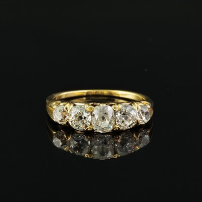 AUTHENTIC VICTORIAN 2.20 CT OLD MINE CUSHION CUT DIAMOND RARE 1890 FIVE STONE RING!